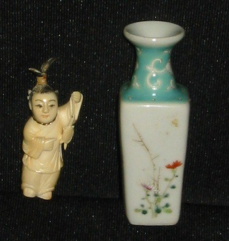 11: Chinese carved ivory pin and Chinese porcelain mini