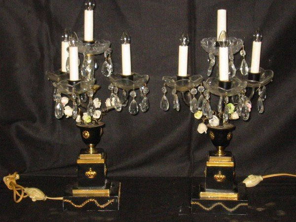18: Pair of Empire style bronze and porcelain flower ta
