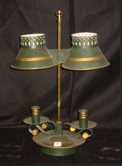 19: French tole painted bouilotte lamp. 20