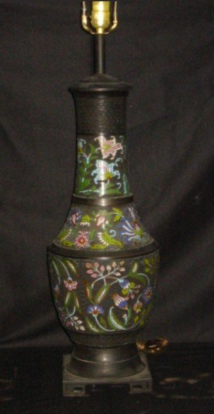20: 19th c Chinese bronze and cloisonné vase mounted as