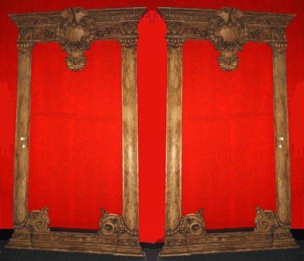 77: Pair of large 19th c Louis XV mirror frames.