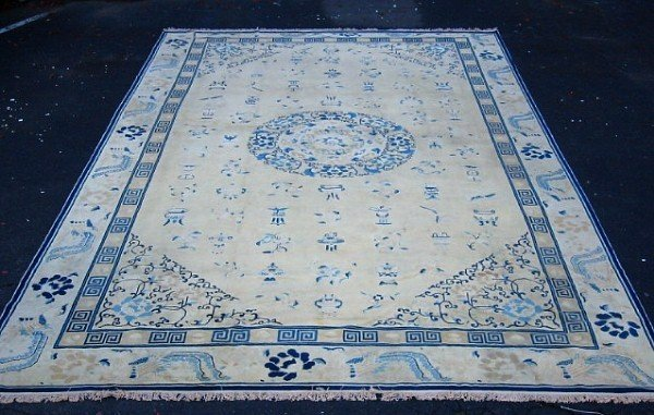 79: 19th c Chinese Peking carpet. Approx. 10' x 14' Eve