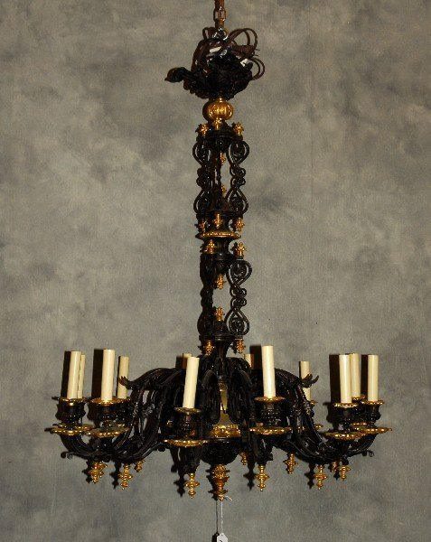 Period Empire gilt-bronze and patinated bronze 12 light