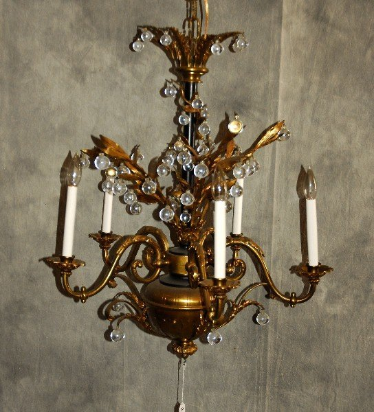 "Jansen bronze and crystal 5-light chandelier. H: 30"" D:"