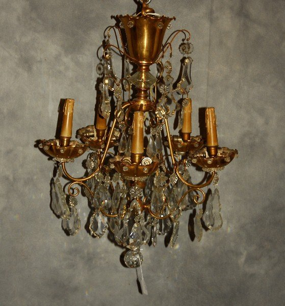 "Jansen bronze and crystal 5-light chandelier. H: 26"" D:"