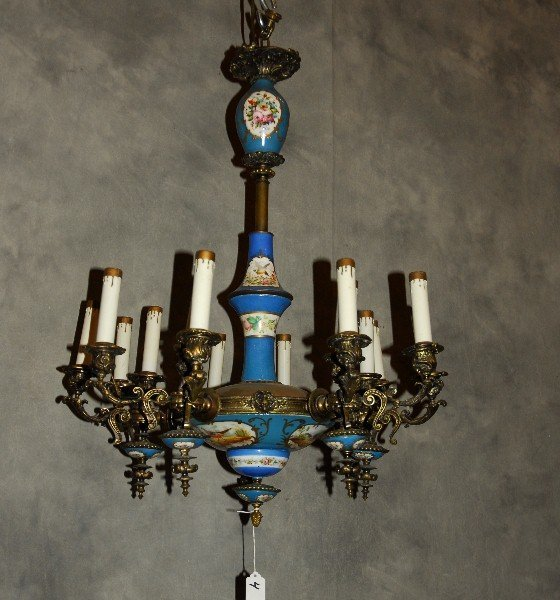 Antique Sevres porcelain and bronze 15-light