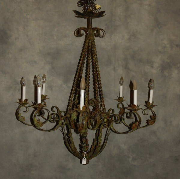 "French iron 8-light chandelier. H: 42 5"" D: 41"""