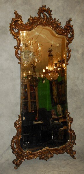 "19th c. Rococo style carved gilt-wood mirror. H: 94"" W:"