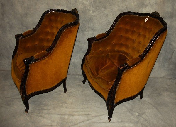 19th c. pair of Louis XV style carved mahogany