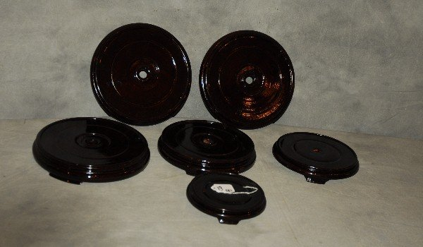 "Six Chinese lacquer wood stands. Largest: 1 5"" x 9"""