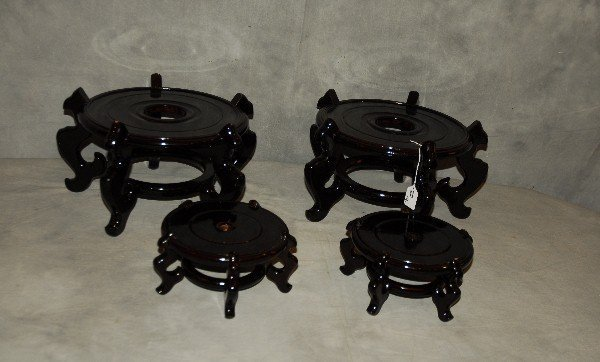 Two pair of Chinese lacquer wood stands. Largest H: 8