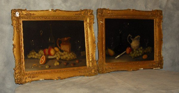 Antique pair of oils on canvas of fruit in gilt-wood