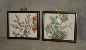 Pair of antique Chinese porcelain plaques. Overall: 10
