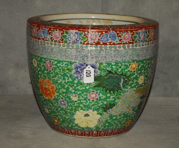 """Antique Chinese porcelain fish bowl. H: 12"""" D: 14 5"""""""