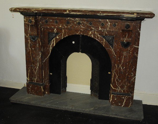 19th c. Napoleon III carved marble fireplace mantel. H: