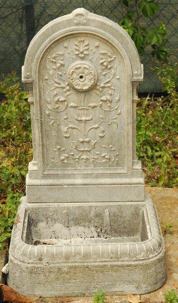 "Cast stone two-piece fountain. H: 33"" W: 19.5"" D: 15"""