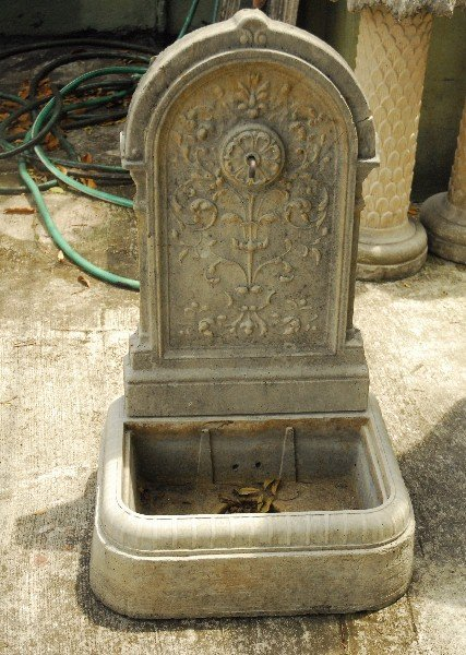 "Cast stone 2 piece fountain. H: 31"" W: 20"" D: 14.5"""