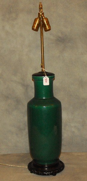 Chinese green glaze porcelain vase as a lamp. Overall: