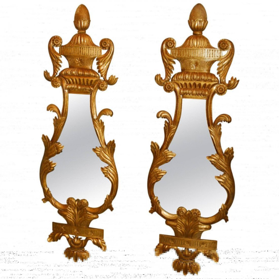 Large pair of French carved gilt-wood mirrors with