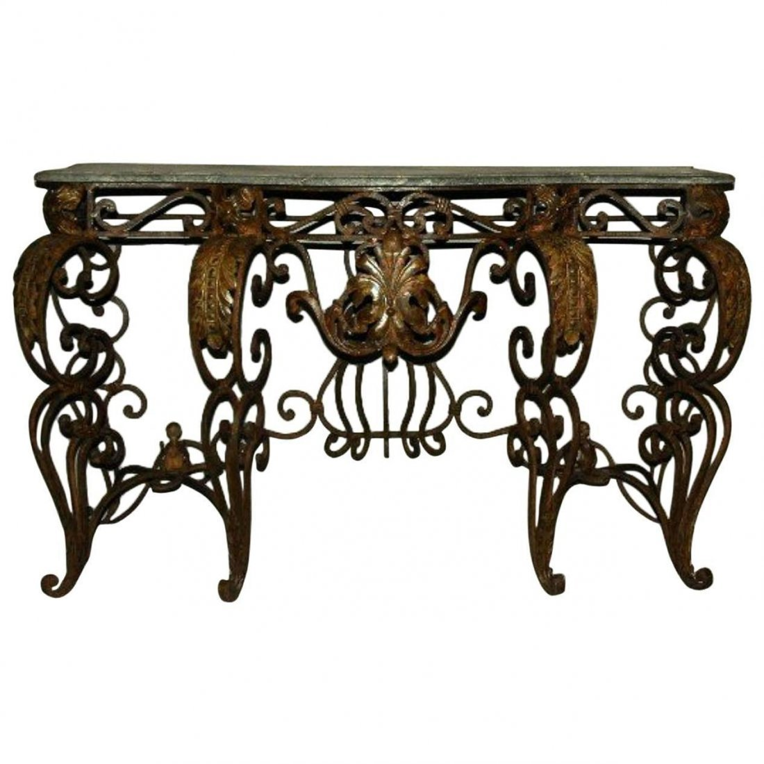 "Wrought iron marble top console table. H: 33"" W: 58"" D:"