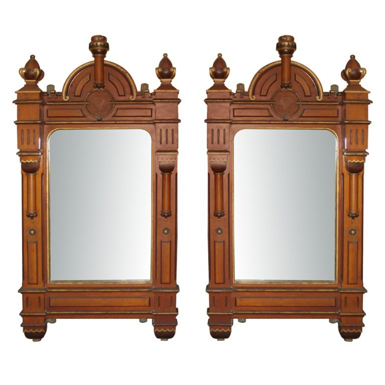 "Pair of 19th c. Gothic mirrors. H: 72"" W: 36.5"" D: 8"""