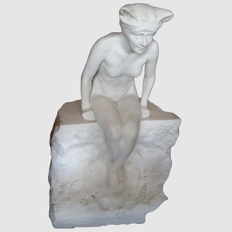 Large Art Deco carved marble figure of a seated nude