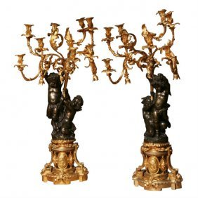 Monumental Pair Of 19th C. Louis Xvi Gilt Bronze