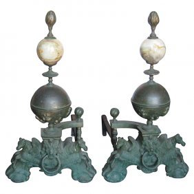 Pair Of American Chippendale Style Bronze Figural