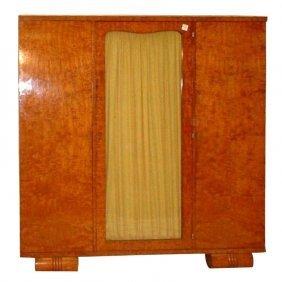 """Art Deco Birchwood Three-door Cabinet. H: 69.5"""" W: 67"""""""