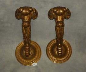 Pair Of 19th C. Carved Gilt-wood Wall Sconces With