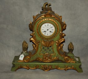 "French Carved And Partial Gilt Mantle Clock. H: 19"" W:"
