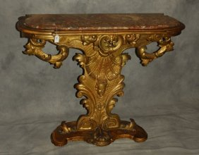 "18th C. Carved Gilt-wood Marble Top Console. H: 33"" W:"