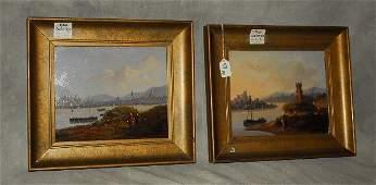 19th c. Dutch School, pair of oils on panel (2), Boat