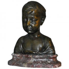 19th C. Bronze Sculpture Of A Little Boy On A Marble