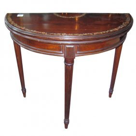 19th C. Louis Xvi Style Painted Mahogany Game Table. H:
