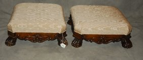Pair Of 19th C. Italian Carved Footstools With Paw