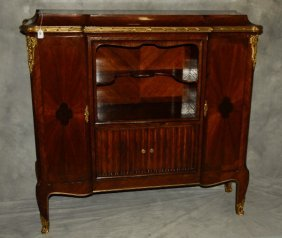 19th C. Louis Xv Style Bronze Mounted Biblioteque. H: