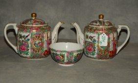 Three Assorete Chinese Rose Medallion Pieces. Teapot: