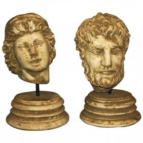 """Two Roman Style Cast Stone Classical Busts. H: 22"""" D:"""