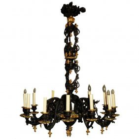 19th C. French Empire Bronze 12-light Chandelier. H: