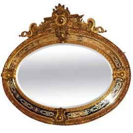 Large 19th c. Napoleon III carved gilt-wood oval