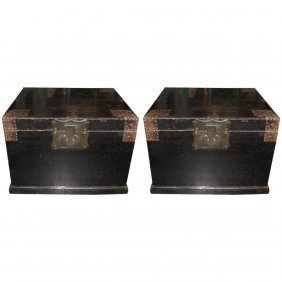 """Large Pair Of 19th C. Chnese Lacquer Trunks. H: 24"""" W:"""