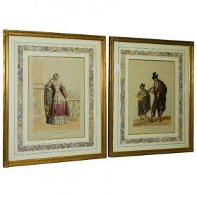 Achille Deveria, Fr. 1800-1857, Two Hand-colored