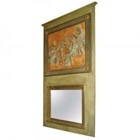 """19th C. French Painted Trumeau Mirror. H: 68"""" W: 38"""""""