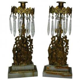 19th C. Pair Of Bronze And Crystal Girandoles On Onyx