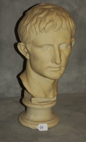 Cultured Marble Bust Of Augustus Caesar On Socle.