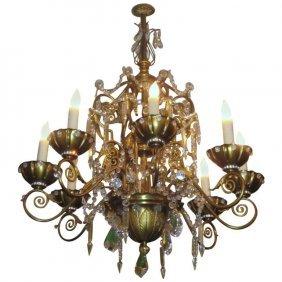 Maison Jansen Bronze And Crystal 8-light Chandelier. H:
