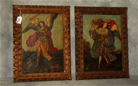 Two Cusco School oils on canvas, Archangels, signed: