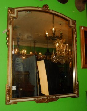 Rococo Style Carved And Painted Wood Mirror. H: 61.75""