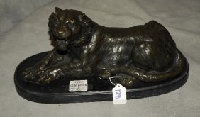 Bronze Figure Of Reclining Lion On A Marble Base. H: